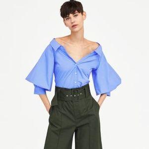 Zara Blue Puff Balloon Sleeves Shirt